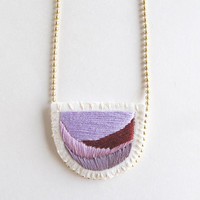Abstract embroidered necklace on matte gold tone ball chain with light and dark lavender and purple An Astrid Endeavor Spring fashion