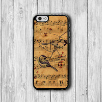 Vintage Bird Music iPhone 6 Cover iPhone 6 Plus, iPhone 5/5S, iPhone 4/4S Hard Case, Rubber Parchment SONG Drawing Accessories Boss Gift