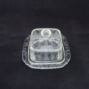 Vintage Retro Clear Glass Butter Dish With Lid, Depression Glass Butter Dish, Frower Pattern Cheese Dish, UK Seller