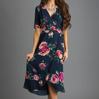 Annelise Navy Floral Wrap Dress
