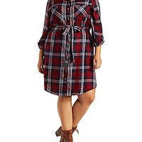 PLUS SIZE PLAID SHIRT DRESS