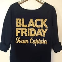Black Friday Team Captain - Ruffles with Love - Holiday Sweatshirt - Off the Shoulder Sweatshirt - Womens Clothing - RWL