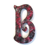 """Decorative Letter B Victorian goth style in crimson red, black and silver, 10"""" wooden wall letter, ready to ship"""
