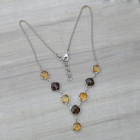 Smoky Quartz Necklace,Solid 925 Sterling Silver Necklace,Gemstone Necklaces Women Promise Necklace Citrine Chain Multi Gemstone Necklace