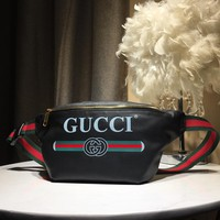 Kuyou Gb59717 Gucci Logo Belt Bag Black Leather Bumbag 28x18x8cm