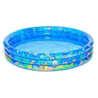 By PoolCentral 62 inch  Round Transparent Blue Inflatable Children's Pool with Printed Undersea Scene
