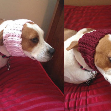 Crochet Dog Hat Set for Small Dogs - Pink and Red - Dog Headbands - Female Dog Accessories - Dog Ear Warmers - Crochet Dog Snood