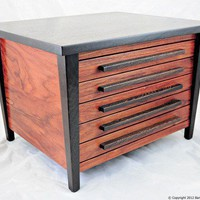 Five Drawer Taper Leg Jewelry Chest - Wenge & Monkeywood | BarkUpATree - Woodworking on ArtFire