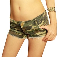 Women's Camouflage Jeans Shorts Pants Denim Low Waist Fashion Shorts