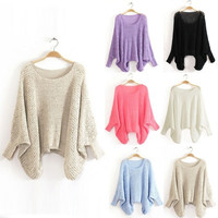 Fashion Women Batwing Dolman Sleeve Casual Baggy Knitted Pullover Jumper Sweater Knitwear Tops = 1946761796