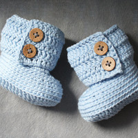 100% Cotton Crochet Baby Boots in Blue with Coconut Buttons, Baby Girl Baby Boy Booties, Natural Neutral, size 0-3 months, Ready to Ship