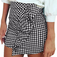 Plaid Pencil Ruffle Skirt