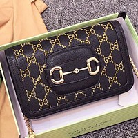 GUCCI Fashion New Embroidery Letter Leather Chain Shoulder Bag Crossbody Bag Black