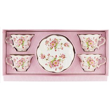 Set of 4 Charlotte Bloom Porcelain Tea Cups and Saucers in Gift Box