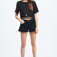Pins & Needles Lace Hem Crop Tee in Black - Urban Outfitters