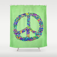 Peace Out Shower Curtain by Shawn King