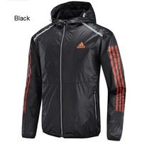 ADIDAS autumn and winter new windproof hooded jacket woven jacket Black