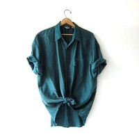 vintage green silk shirt. oversized silk blouse. short sleeve silk pocket shirt. slouchy silk shirt. loose fit silk shirt.