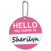 Sherilyn Hello My Name Is Round ID Card Luggage Tag