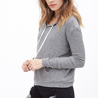 FOREVER 21 Striped Knit Drawstring Hoodie