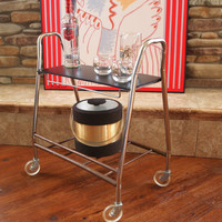 50s MID CENTURY BAR Cart Retro Vintage Rolling Metal Cart with Lucite Wheels and 2 Shelves Mid Century Modern Furniture Chicago