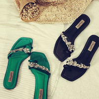 European Brand Luxury Rhinestone Sandals Women Clip Toe Flip Flops Black/Green Slippers Summer Beach Sandals Low Heel Slides
