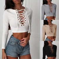 Summer 2018 Sexy Women T-Shirt V-Neck Long Sleeve Lace Up Short T-Shirts New Casual Fashion Women Clothing White Knitwear Tops