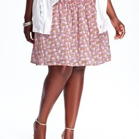 Old Navy Womens Plus Floral Crinkle Gauze Skirts
