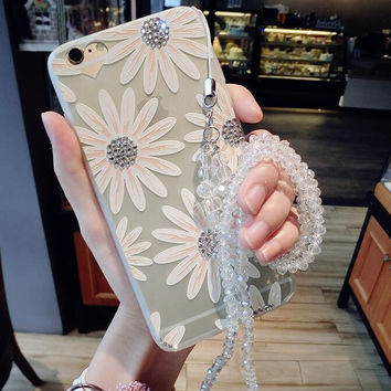 Twinkle Rhinestone Daisy iPhone 7 7 Plus & iPhone 6 6s Plus & iPhone X 8 Plus Case Best Protection Cover with Box