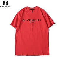 Givenchy Fashion New Summer Letter Print Women Men Top T-Shirt Red