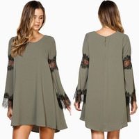 Army Green Lace Panel Long Sleeve Dress