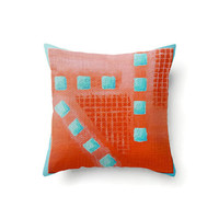 Coral and Turquoise Pillow Cover abstract geometric design, indoor or outdoor throw pillow covers in 16 x 16, 18 x 18 or 20 x 20 inch