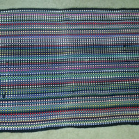 Colorful Vintage Woven Rag Rug with Fringed Ends