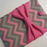 """Macbook Pro 13 Sleeve MAC Macbook 13"""" inch Laptop Computer Case Cover Pink & Grey Chevron with Pink Bow"""