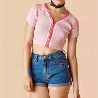 V-neck Zippers Knit Short Sleeve High Rise Crop Top Tops T-shirts [4918735236]