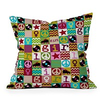 Sharon Turner Patch Girl Throw Pillow