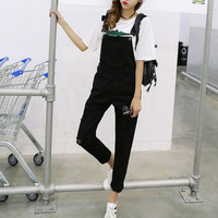Denim High Waist Women Suspender Trousers frayed  black sexy rompers for women summer playsuit women jumpsuits 2016 overalls