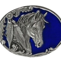 Pewter Belt Buckle - Horse Head and Feather