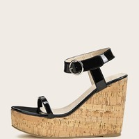 Two Part Ankle Strap Cork Heeled Wedges