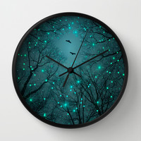 Silently, One by One, the Infinite Stars Blossomed (Geometric Stars Remix) Wall Clock by Soaring Anchor Designs ⚓