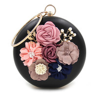 Casual Rhinestone Decorative Flower Two Way Faux Pearl Clutch