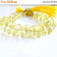 49% Off Sale Outstanding Lemon Quartz Gemstone Briolette Yellow AAA Faceted Onion 6.5mm 32 beads 1/2 strand