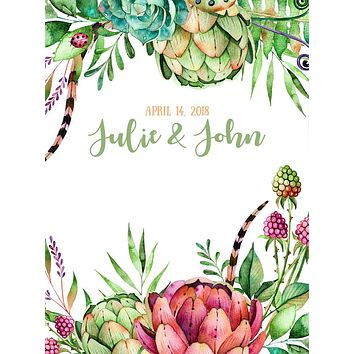 Custom Printed Green and Red Succulents Backdrop - C0193