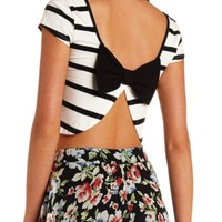 STRIPED BOW-BACK CROP TOP
