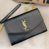 Hipgirls YSL Fashion new leather shopping leisure chain crossbody bag shoulder bag Black