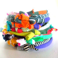 Eco Friendly Multicolor Fiber Bracelet Stack Upcycled Hand Knotted Tribal Cuff Bracelet Bright Colors Knotty Bits