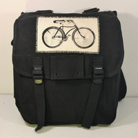 Vintage Army Musette Backpack Black with Bicycle Patch - Free US Shipping