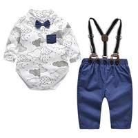 Newborn Baby Boy Clothes Formal Set 2018 New Style Cotton Bow Gentleman Toddler Boy Party Outfit Clothing Romper + Belt Pants