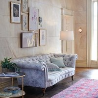 Abstracted Olivette Sofa by Anthropologie in Blue Motif Size: One Size Furniture