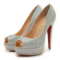 Christian Louboutin Fashion Edgy Sequin Diamond Red Sole Heels Shoes-4